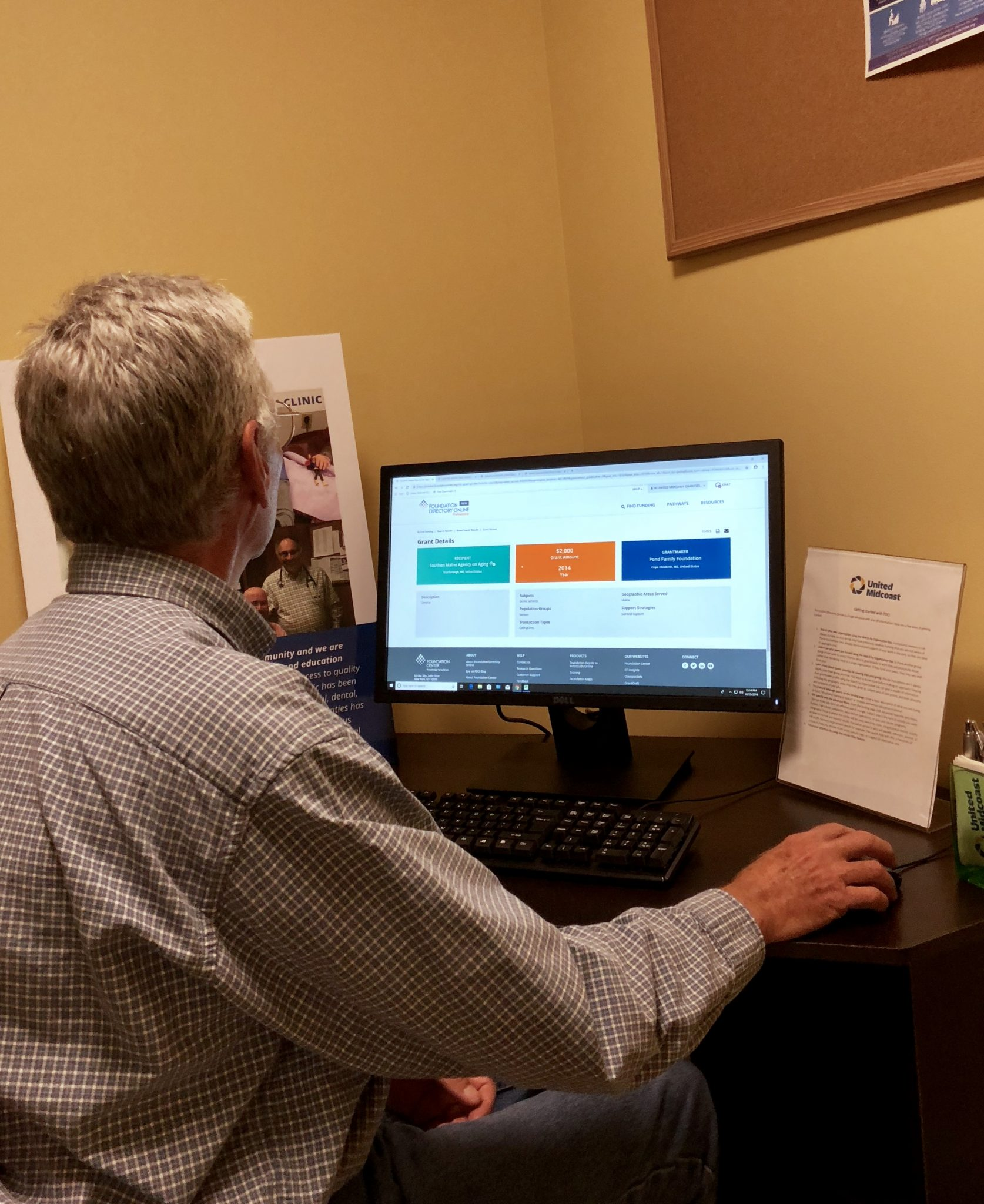 Wes Todd searches for grants for MCH, Inc. at UMC's office.